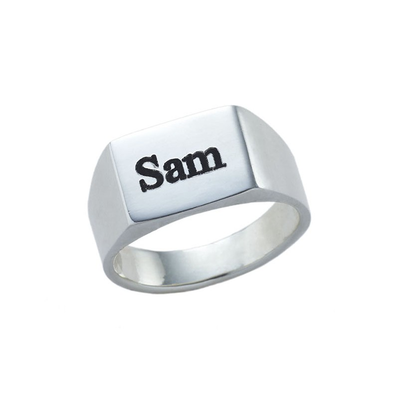 engraved rectangle ring sterling silver