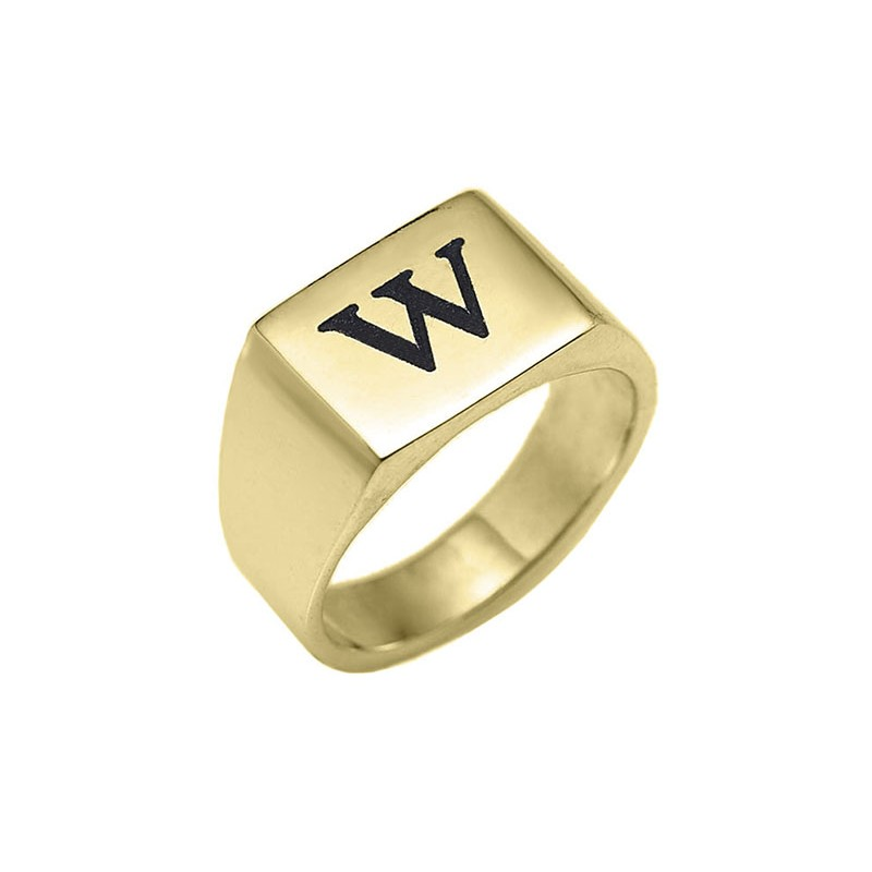 engraved rectangle ring 18k gold plated