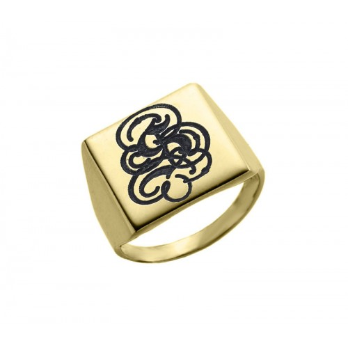 Gold Plated Engraved Monogram Square Signet Ring