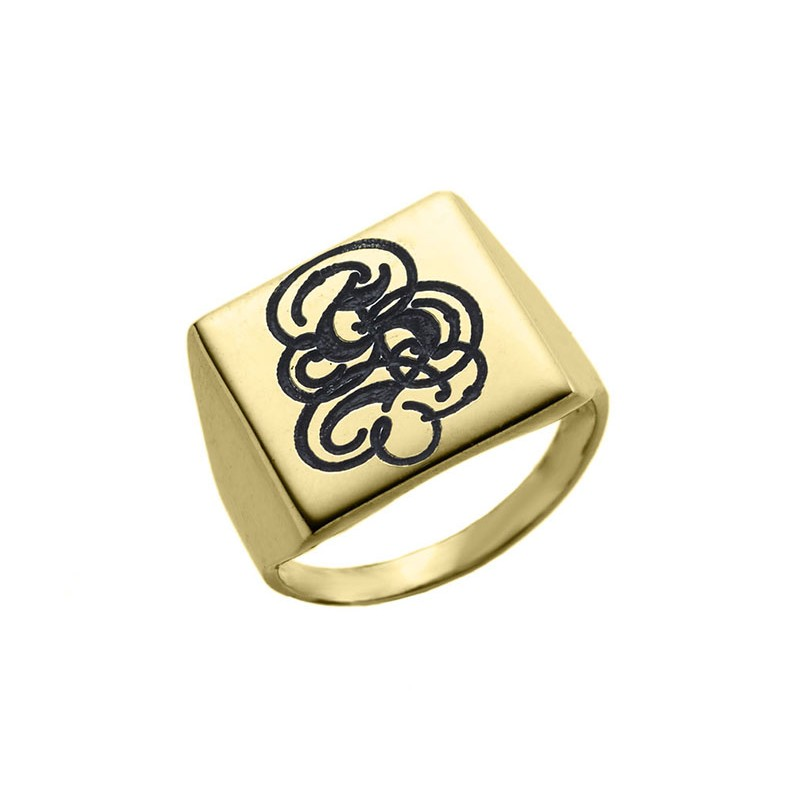 gold plated engraved monogram square ring