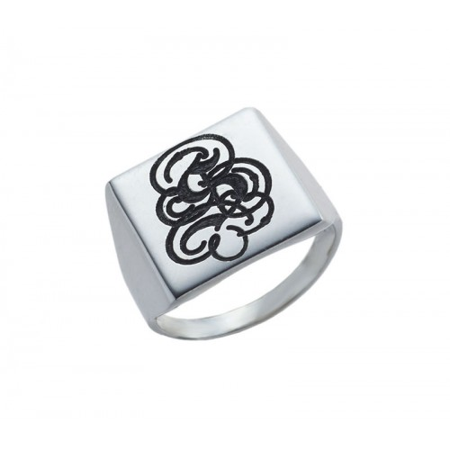 Silver Engraved Monogram Square Signet Ring