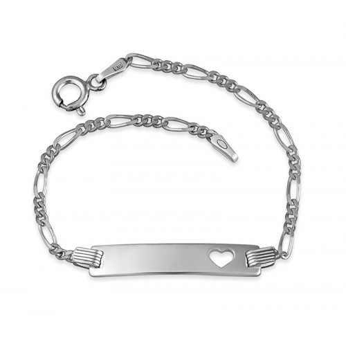 Sterling Silver Engraved Bar Bracelet With Heart