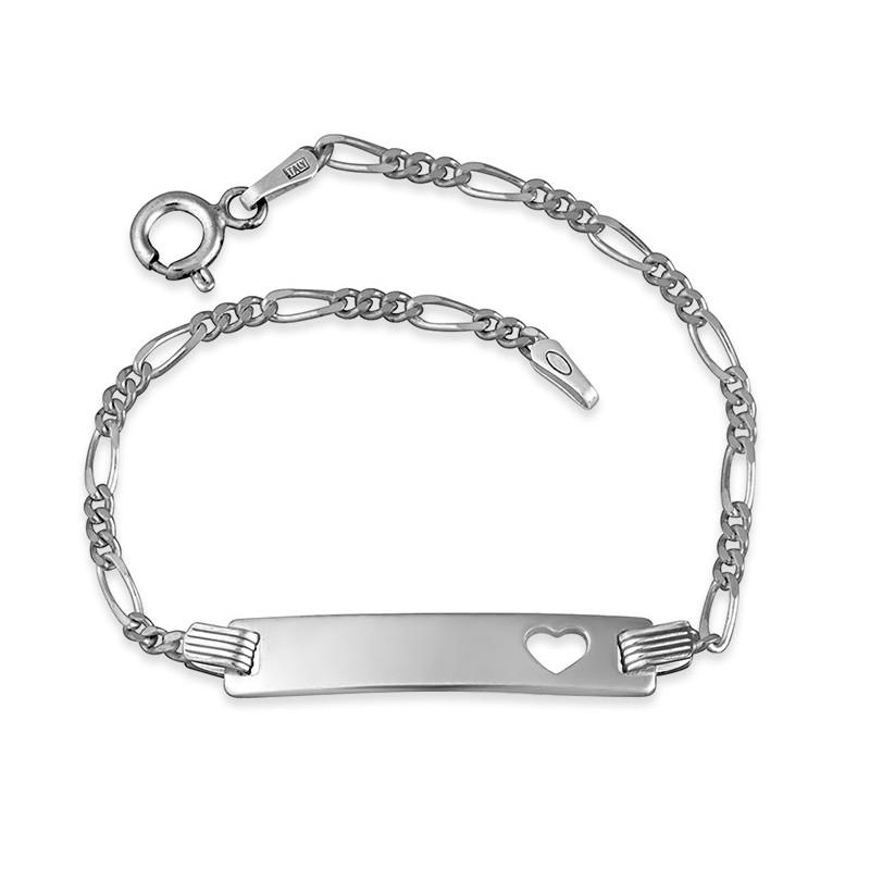 Sterling Silver Engraved Bar Bracelet With Heart