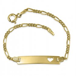 18K Gold Plated Engraved Bar Bracelet With Heart