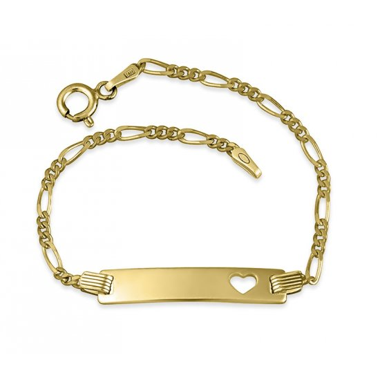 18K Gold Plated Engraved Bar Bracelet With Heart
