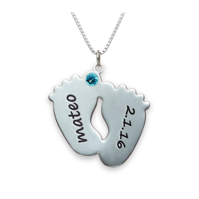 sterling silver 2 baby feet engraved necklace with swarovski birthstone