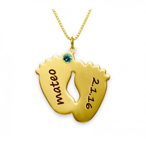 18K Gold Plated 2 Baby Feet Engraved Necklace With Swarovski Birthstone