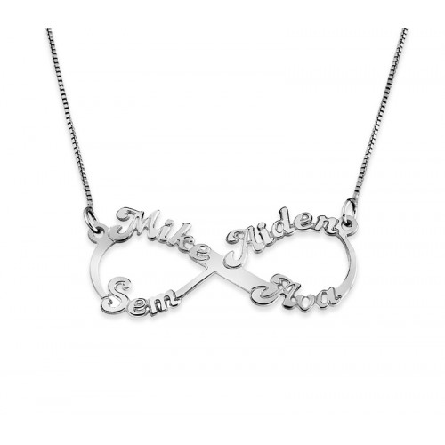 Sterling Silver 4 Name Infinity Necklace