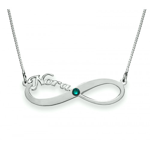 Silver Infinity Name Necklace with Birthstone