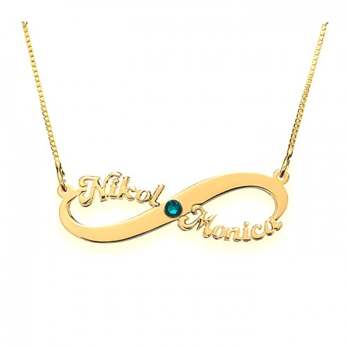 Infinity Necklace With 2 Names & Swarovski Birthstone
