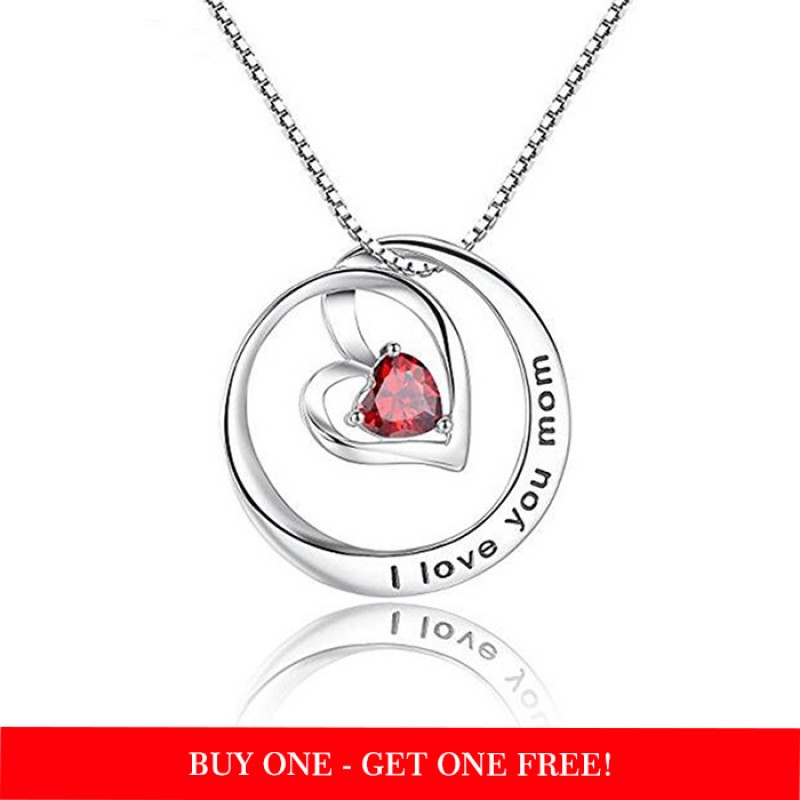 beautiful round  pendant for mom in sterling silver & red zirconia