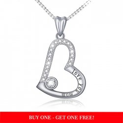 """Love You Mom"" heart pendant necklace with cubic zirconia"