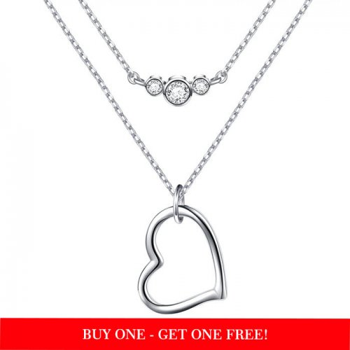 Layered Choker Necklace in 925 sterling silver & cubic zirconia