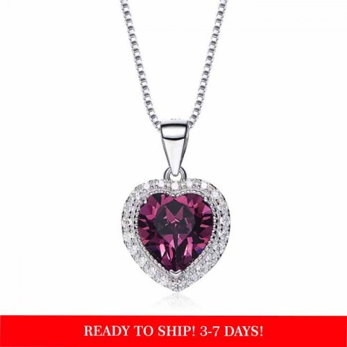 heart shaped swarovski Birthstone necklace - Amethyst (February)