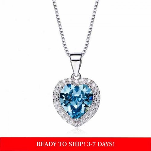 heart shaped swarovski Birthstone necklace - Aquamarine (March)