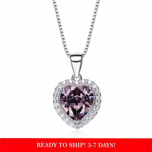 heart shaped swarovski Birthstone necklace  - November