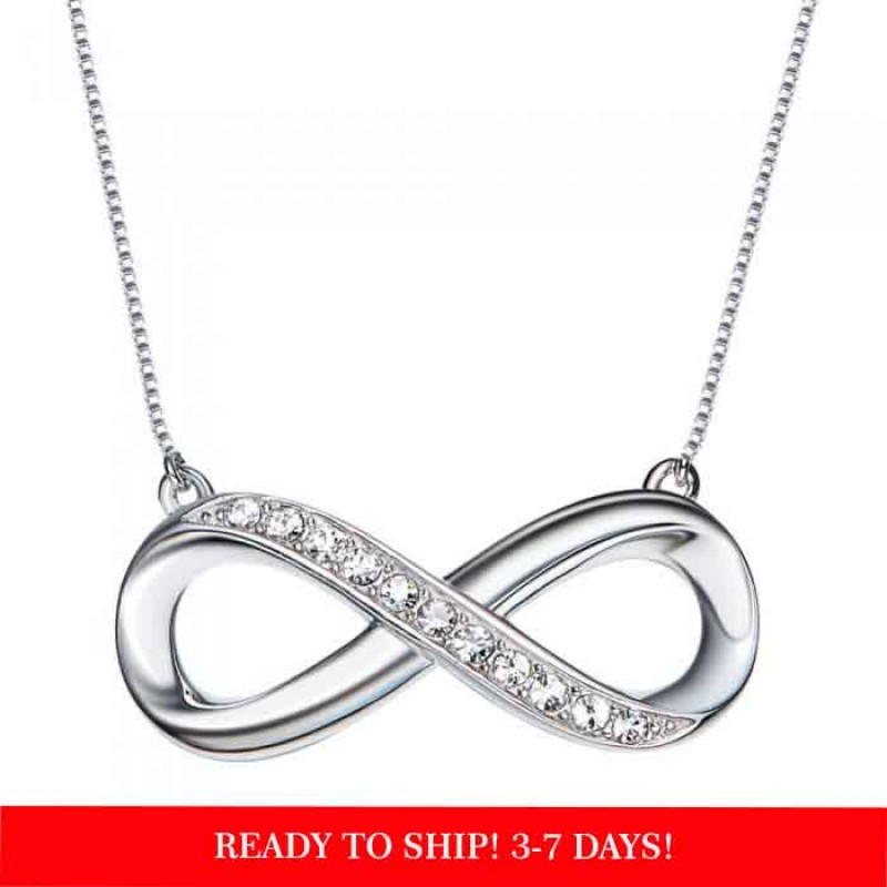 sterling silver diamond infinity necklace