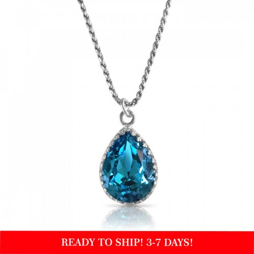 crystal from swarovski necklace - pear fancy emerald stone