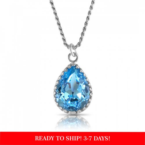 crystal from swarovski necklace - pear fancy aquamarine stone