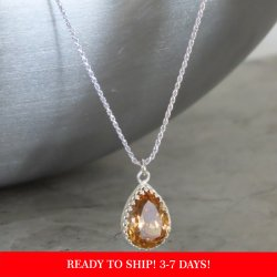crystal from swarovski necklace - pear fancy light colorado topaz stone