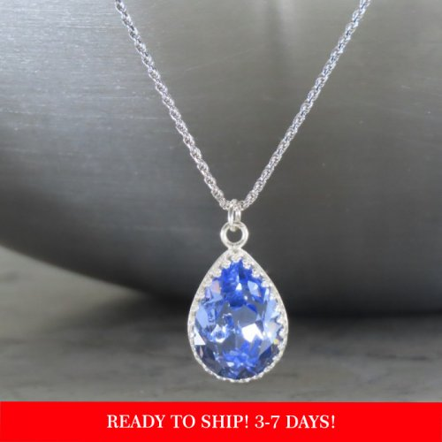 crystal from swarovski necklace - pear fancy provence lavender stone