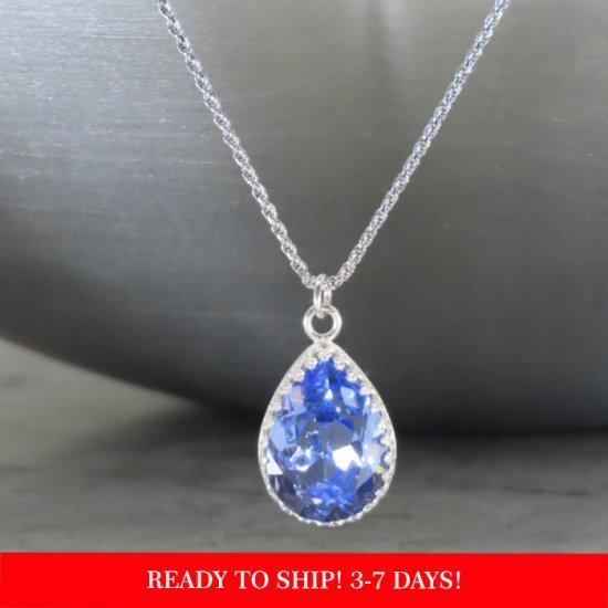 crystal from swarovski necklace - pear fancy provence lavender stone