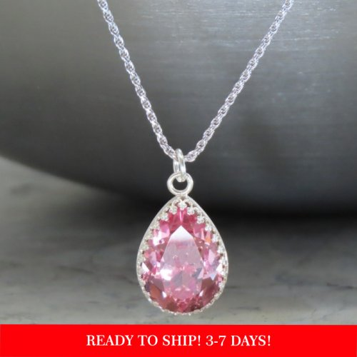 crystal from swarovski necklace - pear fancy light rose stone
