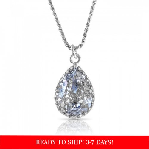 crystal from swarovski necklace - pear fancy crystal silver patina stone