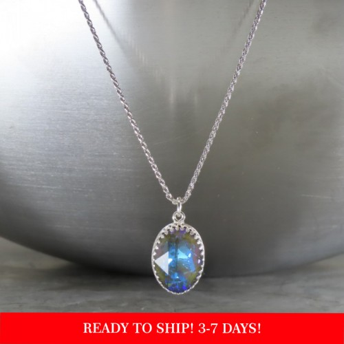 "crystal from swarovski necklace with oval fancy stone - "" crystal army green delite"""