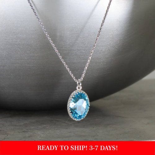 "crystal from swarovski necklace with oval fancy stone - "" light turquoise"""