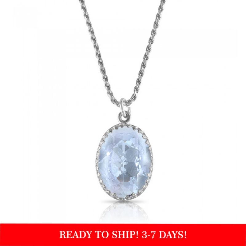"crystal from swarovski necklace with oval fancy stone - ""  light azore"""