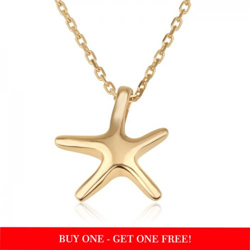 small seastar necklace with 18k gold plating