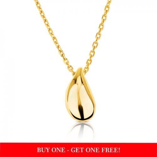 small teardrop Pendant necklace with 18k gold plating