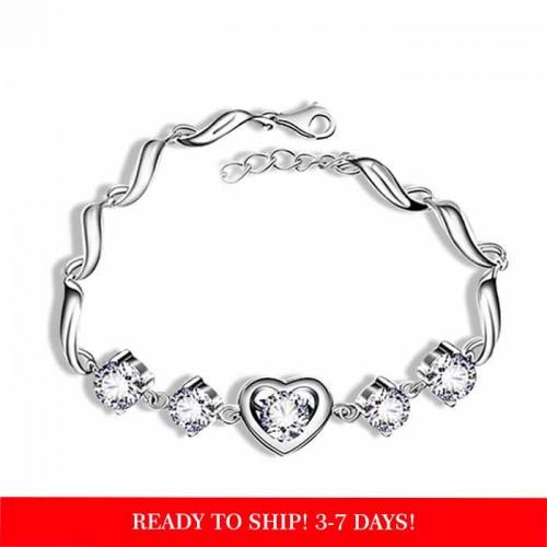 925 Sterling silver Heart Charm  Cubic Zirconia  Bracelet