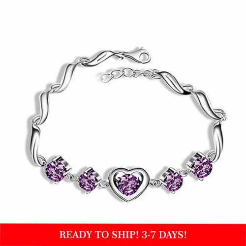 925 Sterling silver Heart Charm purple Zirconia  Bracelet