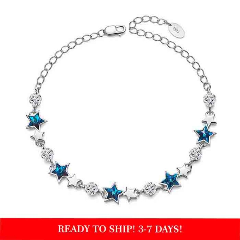 silver bracelet with blue star crystals from swarovski
