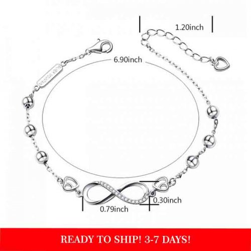 Infinity and beads silver bracelet