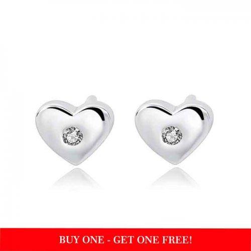 925 sterling silver heart shape stud earrings with cubic zirconia