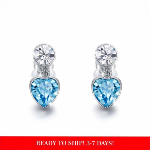heart shaped drop earrings with blue crystals from swarovski