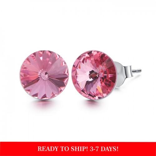 Crystals from Swarovski stud earrings - rose