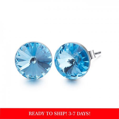 Crystals from Swarovski stud earrings - aquamarine