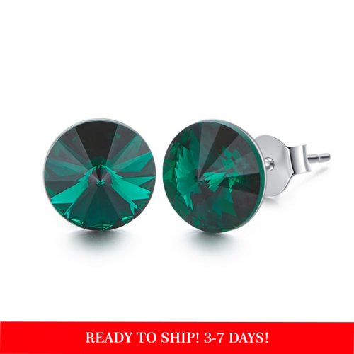 Crystals from Swarovski stud earrings - turquoise