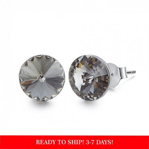 Crystals from Swarovski stud earrings - black diamond