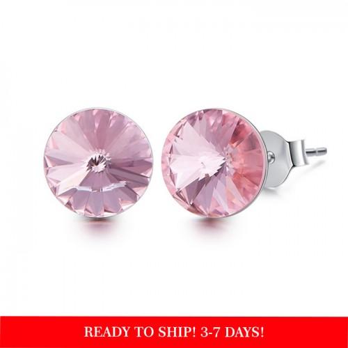 Crystals from Swarovski stud earrings - light rose