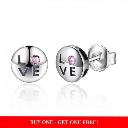 cute LOVE earrings in sterling silver & cubic zirconia