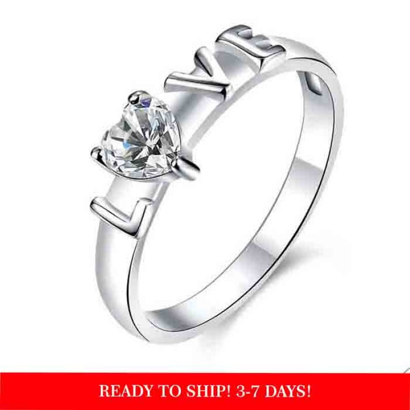 romantic 925 sterling silver  LOVE ring with cubic zirconia