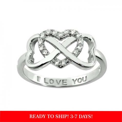 infinity and heart ring in sterling silver & cubic zirconia