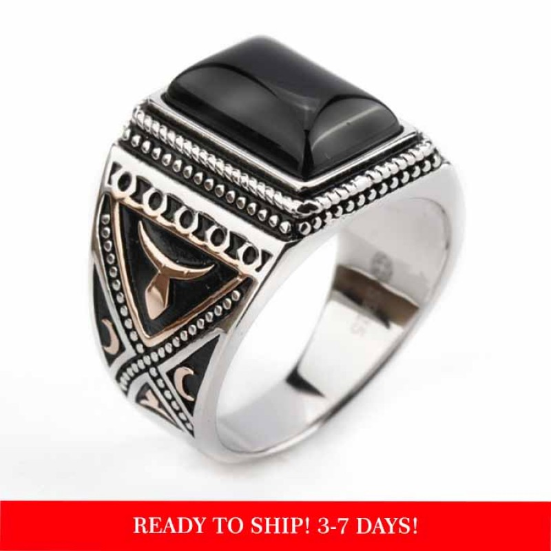 925 sterling silver ring for men - big black Agate stone